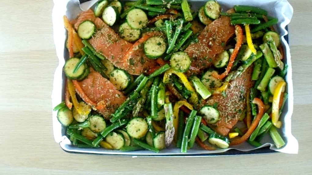 Spread the vegetables out around the salmon.