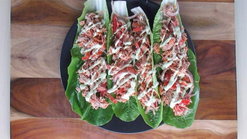 Lettuce wraps ready to eat.