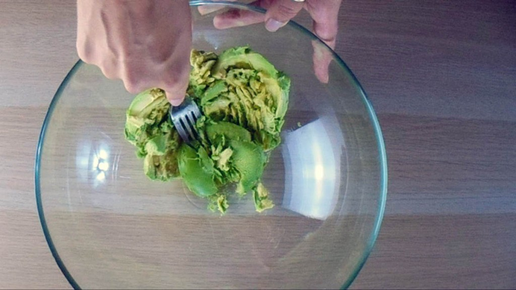 Mash the avocado with a fork.