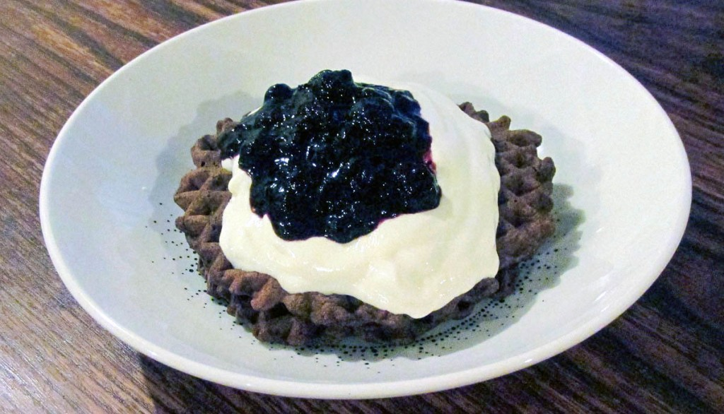 Chocolate waffles with yoghurt and frozen blueberries.
