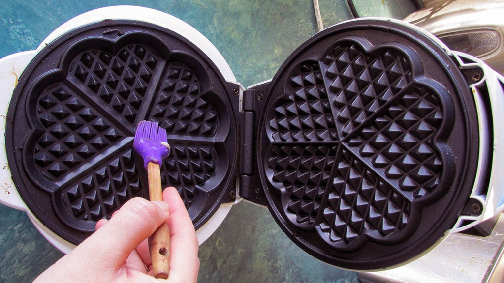 Make sure you oil the waffle iron well.