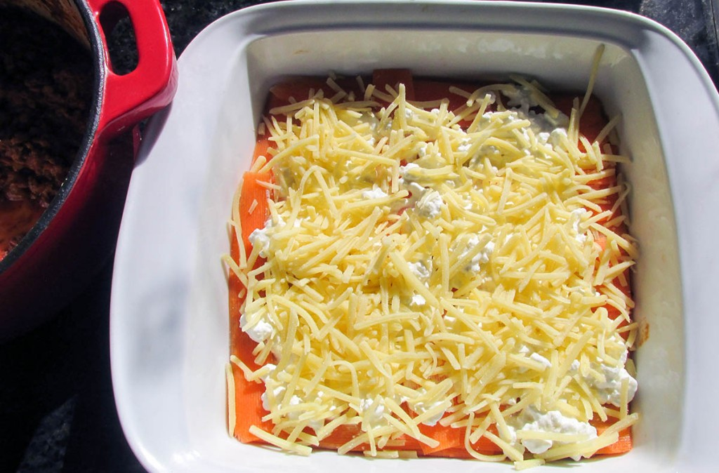 Top with half the cheese