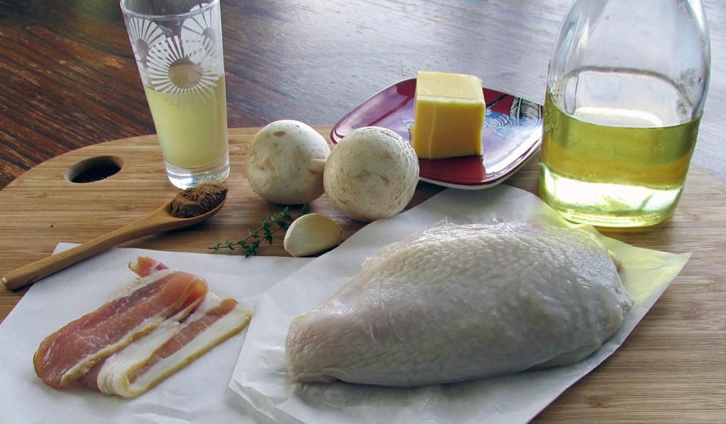 Chicken, bacon and mushroom pie ingredients