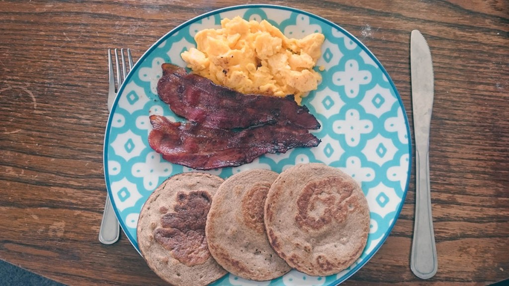 Paleo pancakes with bacon and eggs