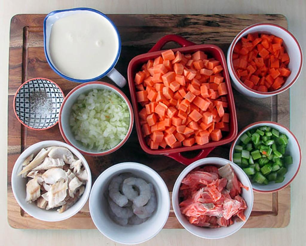 Clean eating fish pie ingredients