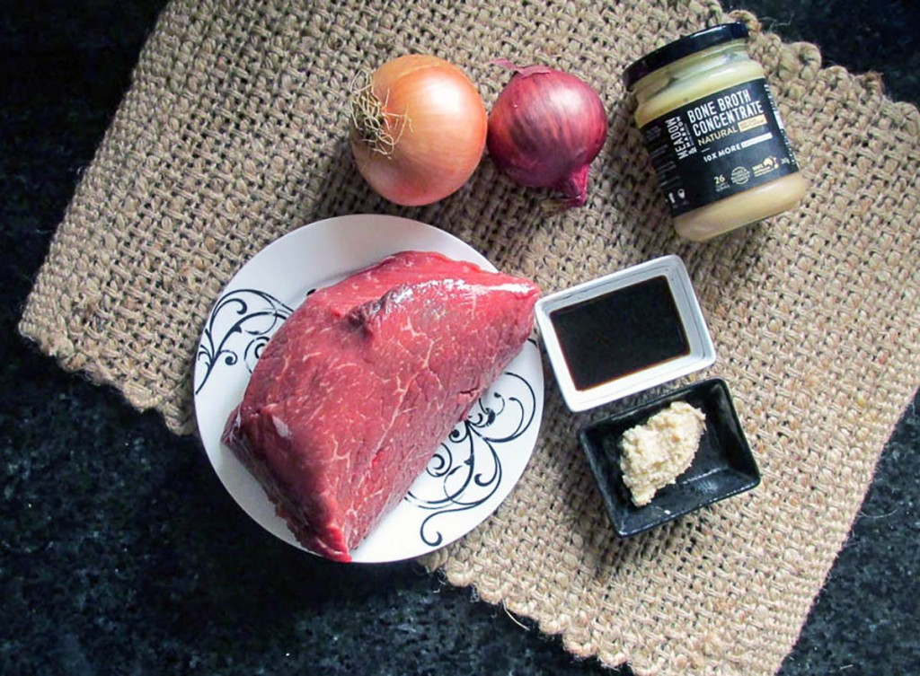 Beef and onions ingredients