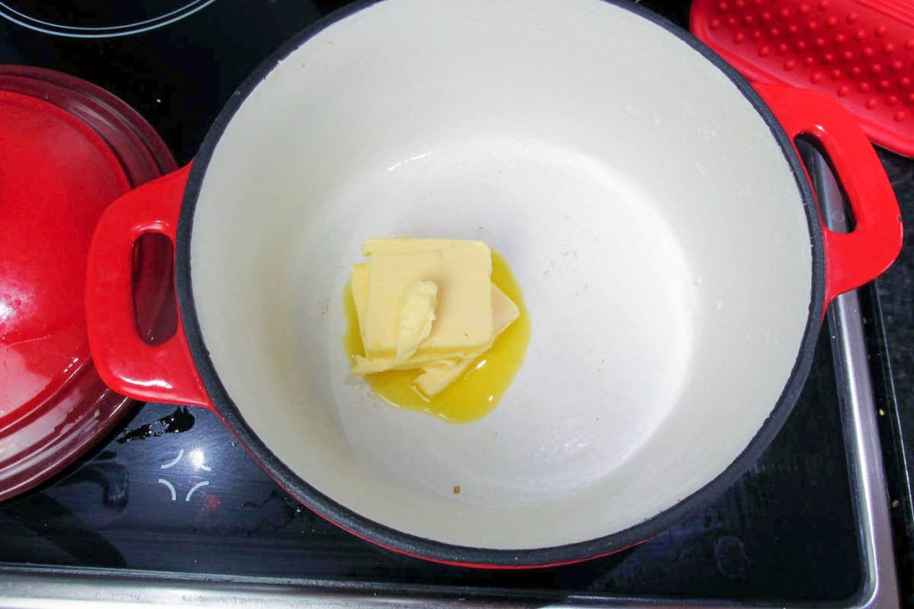 Add the butter to a saucepan.