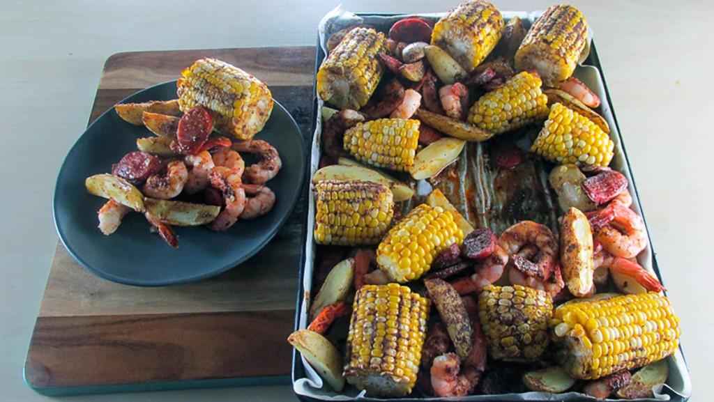 One tray Cajun prawn and sausage bake