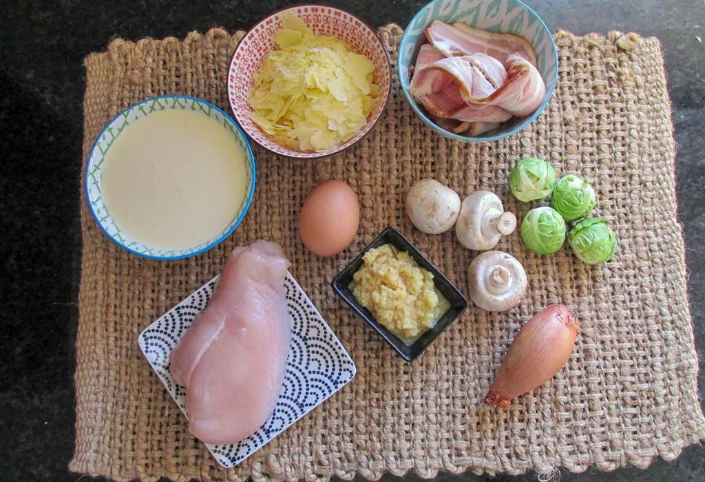 Brussels sprout carbonara ingredients