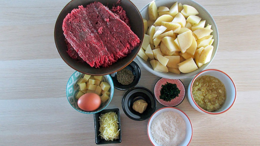 One tray mini meatloaf with potatoes ingredients