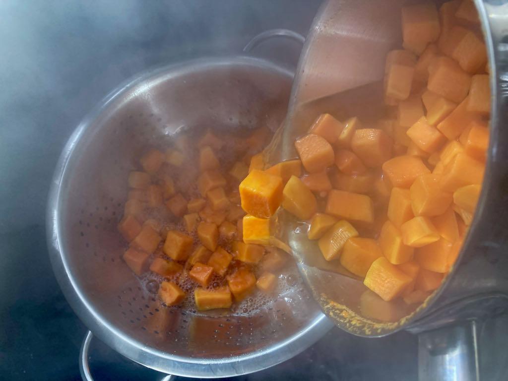 Drain the sweet potatoes