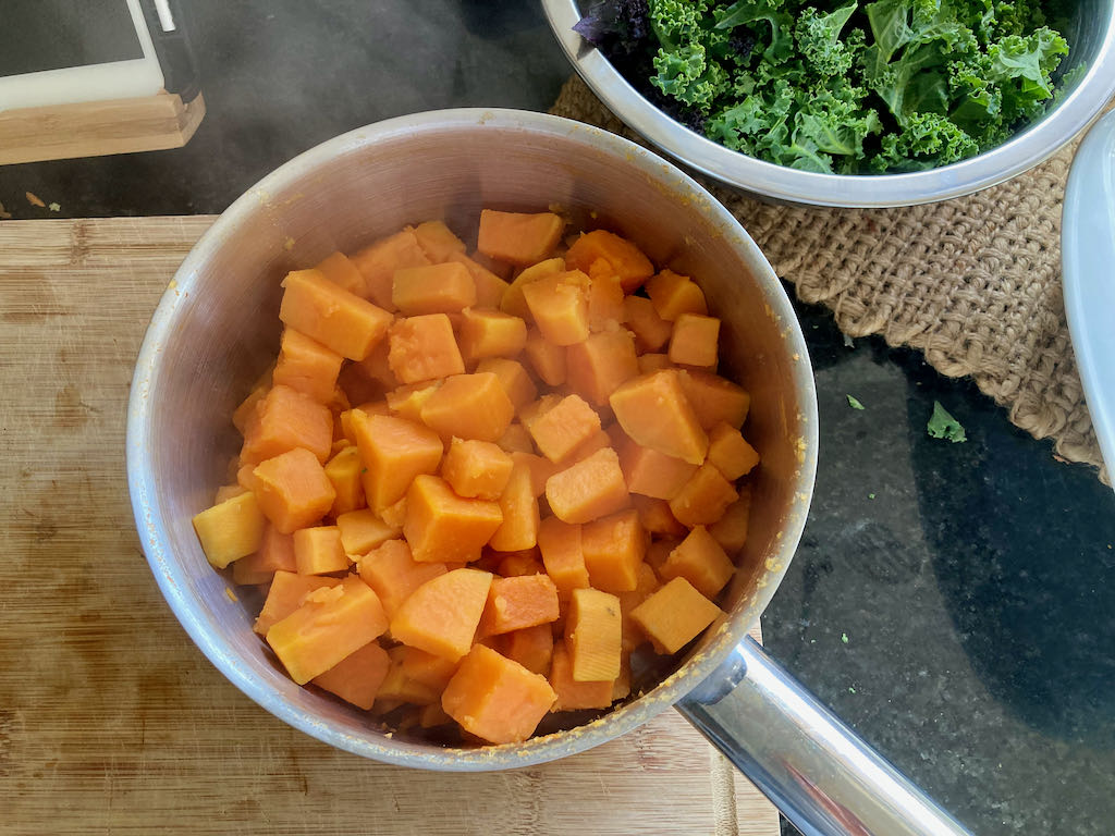 Place the sweet potatoes back in the saucepan